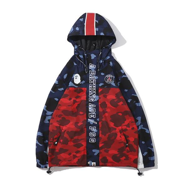 Erkek Camo Polyester Hoodies Rüzgarlık Hoodies Moda Hırka Eğlence Ceket Popüler Marka Yaka Ince Hoodies Ceketler Boyutları M-2XL