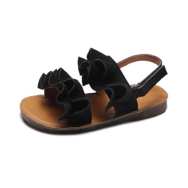 Girls'Open-Toed Sandals Summer New Mädchen Freizeitschuhe Student Big Wave Strandschuhe mit Bull Tendons Bottom