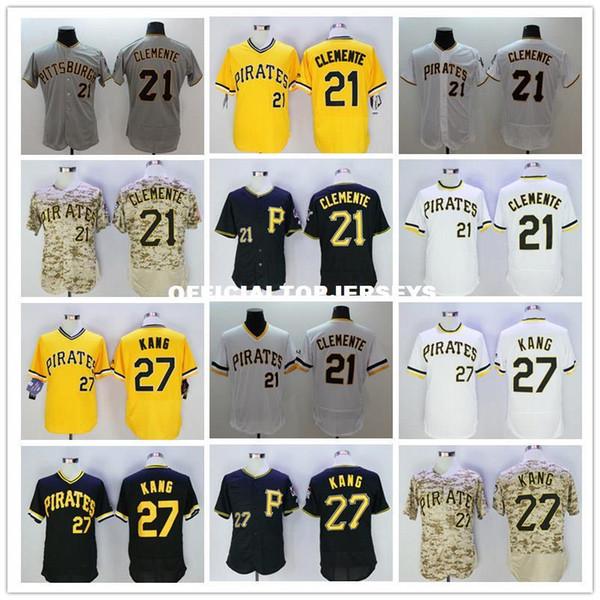 21 Roberto Clemente 27 Jung Ho Kang hommes jaune couleur gris blanc chandails camo noir Taille M-XXXL