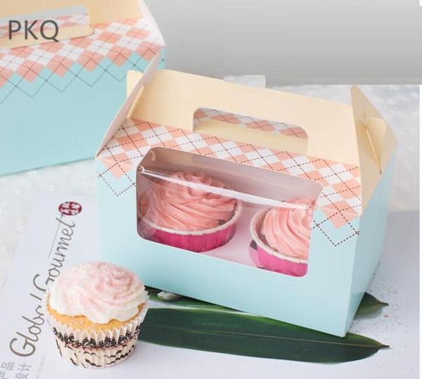 10 pcs Cupcake Box Com Janela Lidar Com Bolo De Papel Kraft Caixa de Presente de Embalagem de Papel Favor Do Partido Caixas De Casamento Bolo Portátil