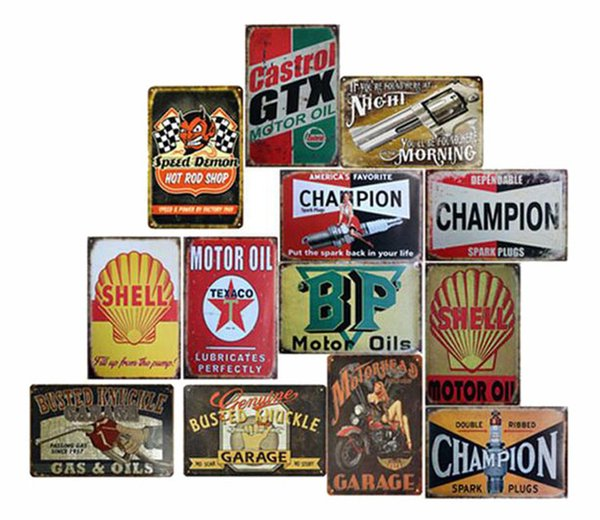 New Metal Painting Garage Gilmore Shell Champion Motor Oil Retro Tustic metal tin signs Wall Art Vintage Poster For Cafe Shop Bar Home Decor