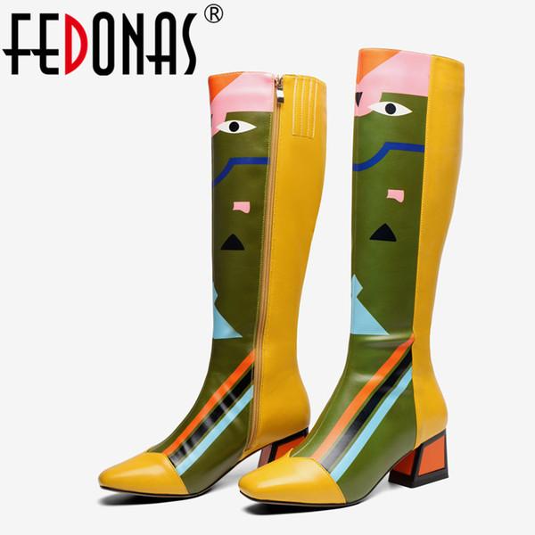 FEDONAS Новые Женские Колено Высокие Сапоги Сексуальные Принты Партии Танцевальная Обувь Женщина Высокие Каблуки Длинные Теплые Сапоги Женская Мода Обувь