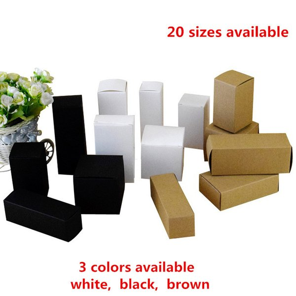 50pcs- 20 Sizes Available Brown/white/black Blank Kraft Paper Box For Cosmetic Valves Tubes Craft Candle Gift Packing Boxes J190706
