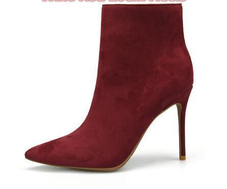 Weinrote Farbe High Heels Stiefeletten für Frauen 2019 Name Marke Winterstiefel mit Plüsch in dünnen Absätzen Stiefel Schuhe