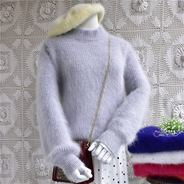 pure angora hair sweater mink short women's sweater bat sleeve base thickening in spring and autumn