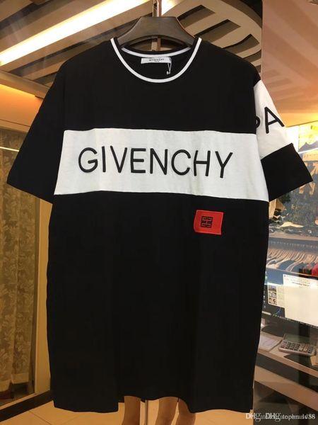 47 karat Nagelneue Sommer Street wear Europa Paris Mode Männer Hohe Qualität Gebrochenes kleines loch Baumwolle T-shirt Casual herren T-stück giv T-shirt