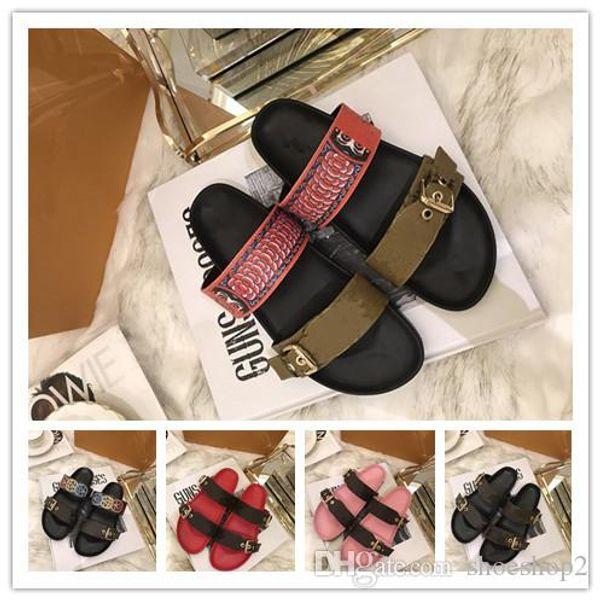 primavera verão sandálias mulheres sapatos de grife de moda masculina de couro genuíno calcanhar plana com caixa de poeira saco