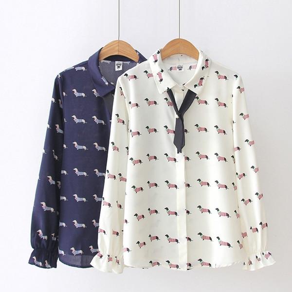 Cute Dachshund Women Blouse Chiffon Shirt Preppy Style Dog Print Turn-down Collar Bowtie Flare Sleeve Spring Autumn T83701 Q190508