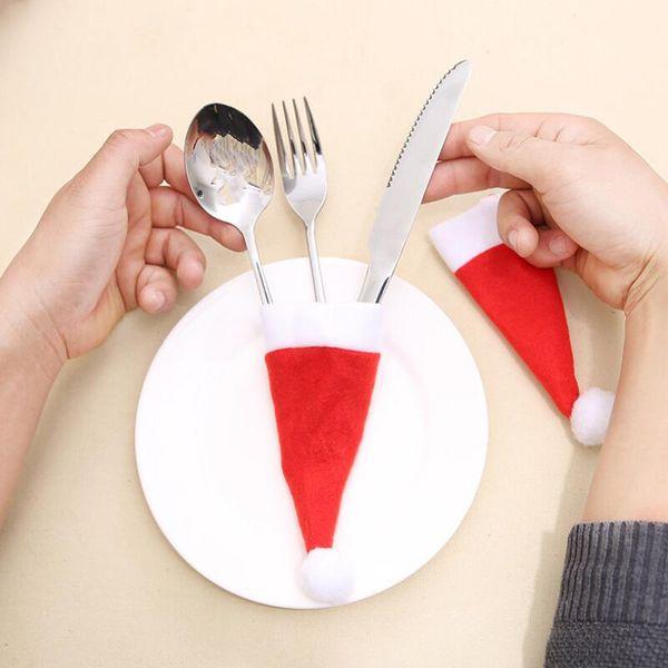 Горячая продажа Санта-Клауса Рождество Мини Hat Закрытый ужин Ложка Форкс украшения украшения Xmas Craft Партии питания Favor Navidad