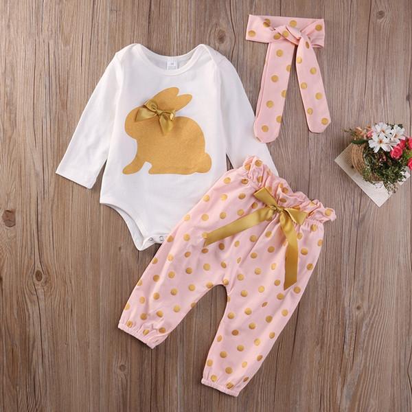 3Pcs/lot New Cute Baby Newborn Infant Girls Summer Clothes Rabbit Bodysuit Long Sleeve Bow Playsuit Pants Outfits Set