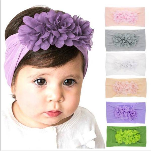 Новорожденные дети девушка шифон цветочные ободки малыш Принцесса эластичный Hairbands дети Рождество аксессуары для волос