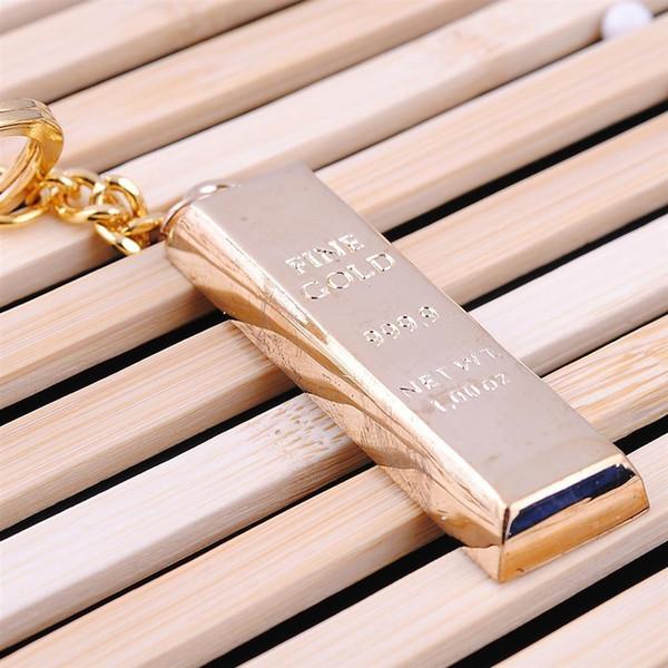 Pure fine or porte-clés or porte-clés porte-clés femmes sac à main charmes pendentif en métal clé finder homme voiture porte-clés accessoire