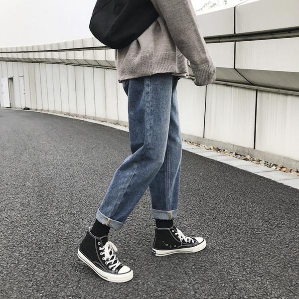 Jeans masculinos 2019 outono e inverno novos jeans retos soltos calças de pernas largas personalidade da juventude tendência da moda roupas masculinas