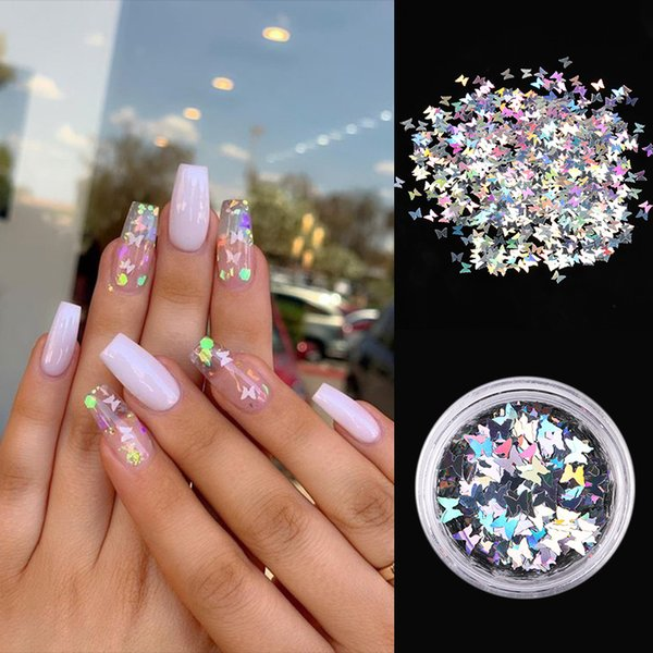 Holographic Nail Sequins Palette Effect Irregular Butterfly Guitar Leaf Mixed Patterns Flakes Nail Art Decoration DIY