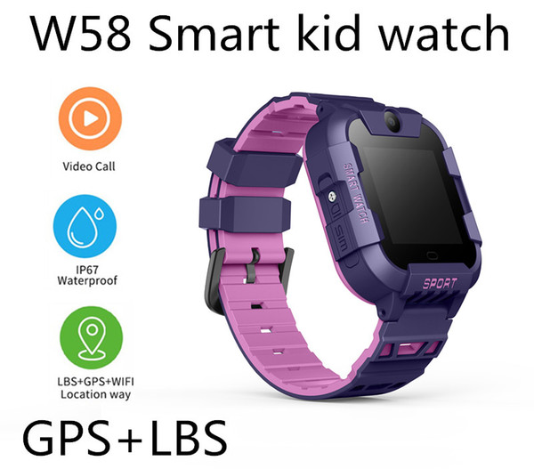 W58 GPS+LBS Smart Kid Safe Watch SOS Call Location Finder Locator Tracker for Child Anti Lost Monitor Baby Son Wristwatch for iOS-Apple Q50