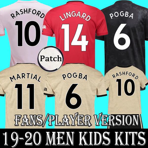 YENI 2019 FC manchester POGBA futbol forması 19 20 LINGARD RASHFORD LUKAKU futbol forması birleşik UtD 19 20 üniforma formaları ADAM çocuklar kiti setleri