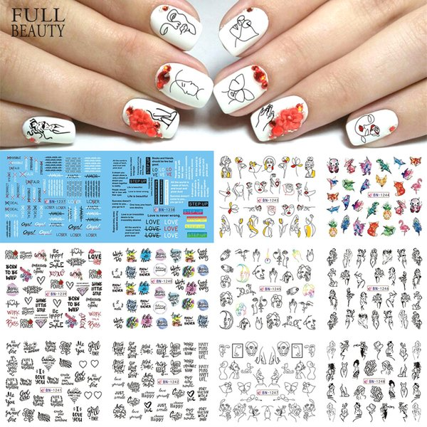 12pcs Foil on Nails Water Stickers Hollow Sexy Girl Manicure Slider Line Drawing Transfer Sticker Nail Art Decal CHBN1237-1248