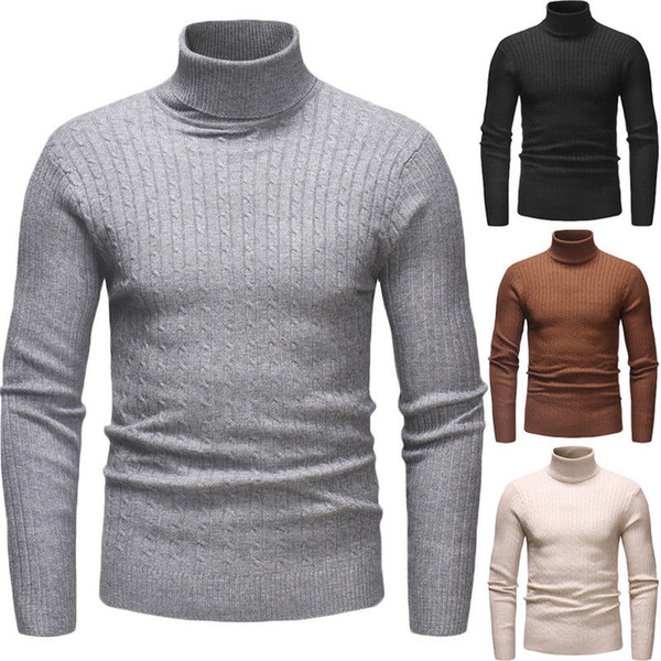 Fashion Winter Men Slim Warm Turtleneck Knitted Pullover Jumper Sweater Top Basic Style Turtleneck Plain Color Sweaters