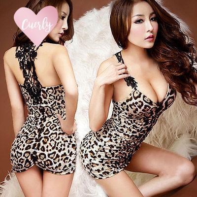 Clubwear 2019 Vestito di pizzo abiti delle donne sexy Clubwear leopardo degli indumenti da letto della bamboletta G stringa di vendita calda donna Abbigliamento