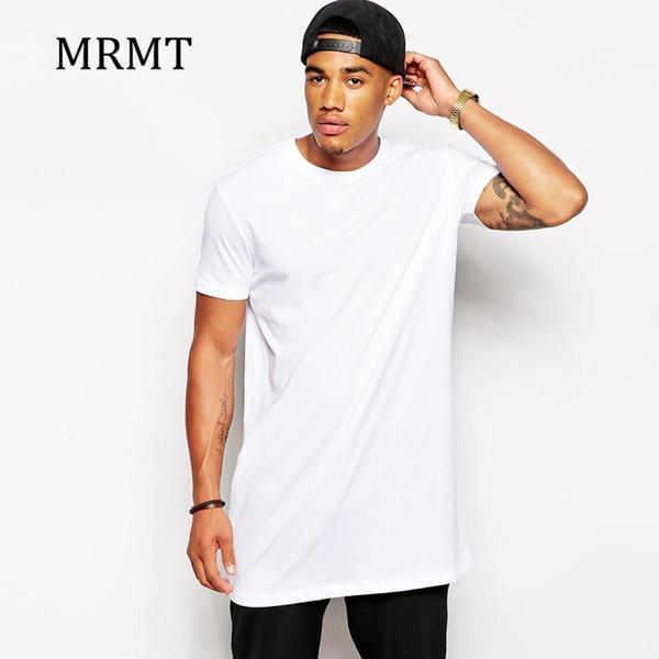 2019 Beyaz Rahat Uzun Boyutu Erkek Hip hop StreetWear Tops erkekler için ekstra uzun tişörtlerin Longline t-shirt Kısa Kollu tişört