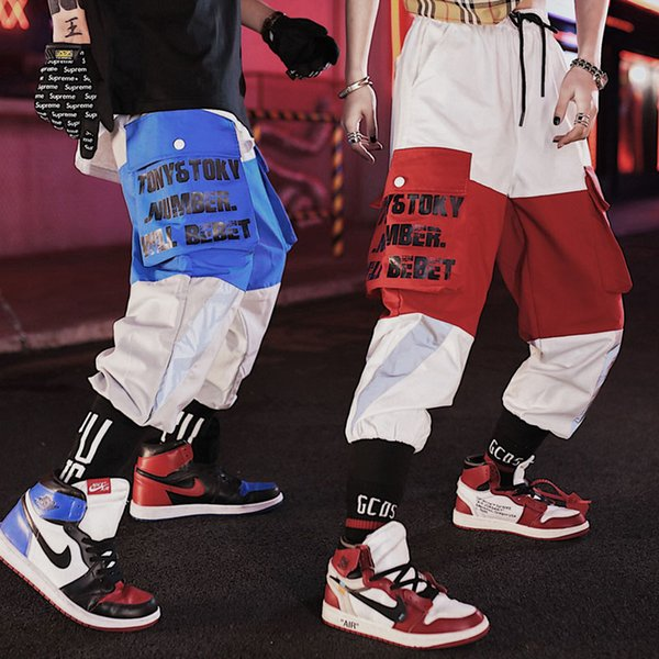 2019 bolsillos de empalme pantalones de harén para hombre casual joggers holgados pantalones tácticos Harajuku Streetwear Hip Hop moda Swag