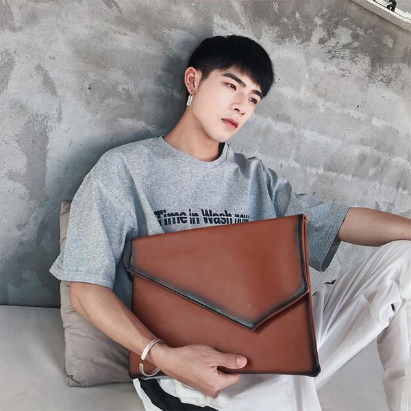 Sac d'embrayage Q sac fichier iPad version coréenne de la rue en cuir d'enveloppe rétro hommes élégants