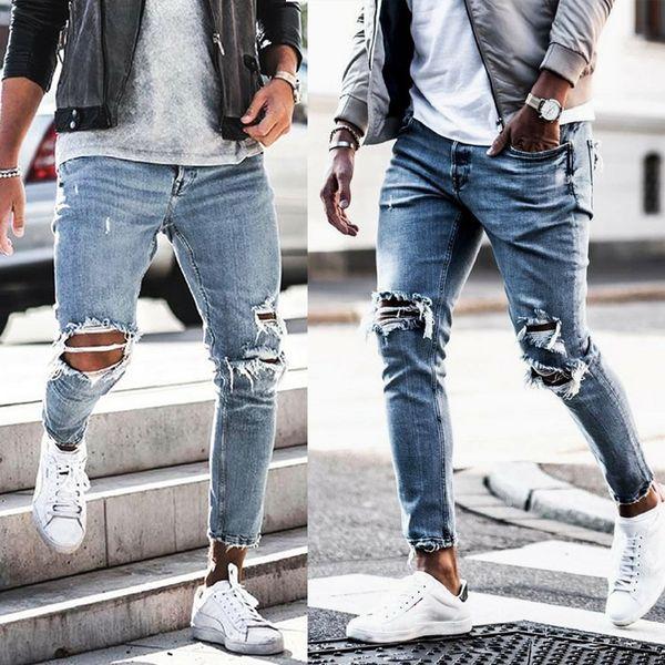 Erkek Bahar Yeni Yırtık Kot Denim Mavi Delik Hombres Sokak Giyim Rahat Uzun Kalem Pantolon