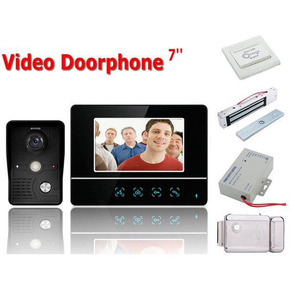 """Home Security Wired Touch Key 7"""" Video Door Phone Intercom System RFID Keypad Code Number Doorbell Camera 2 Monitor 1000TVL+Lock"""