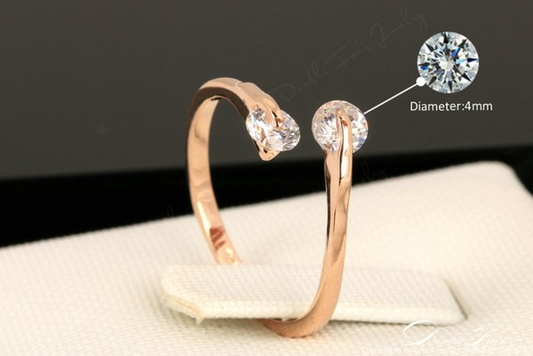 ring pigeon DWR007 OL Style Adjustable Twin Cubic Zirconia Ring Rose Gold Color/Silver Tone Engagement/Wedding Crystal Rings For Women