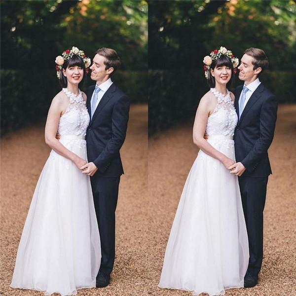 Blanc Halter Tulle A-ligne Robes de mariée avec appliques de mariée mariage Robes Vestido de Novia robes de mariée