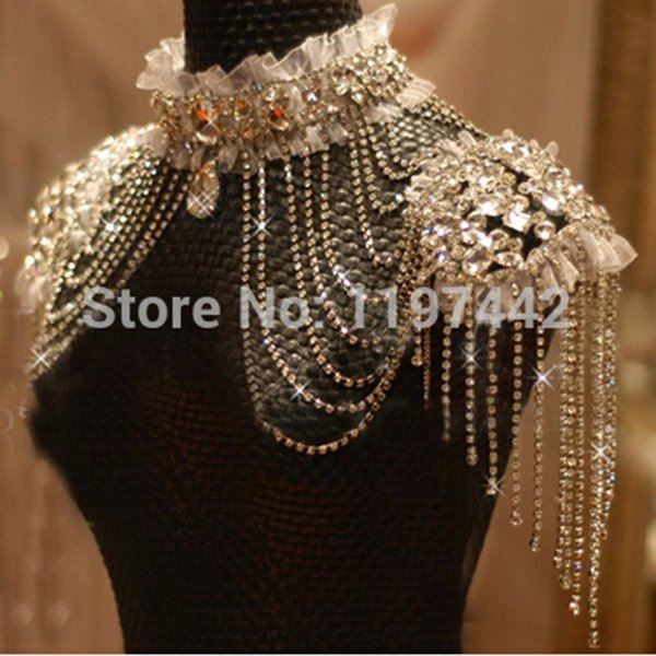 Bridal Chain Tassel Shoulder Strap Bride Beads Lace Jewelry Crystal Accessories Jewellery Wedding Necklace Jewerly Sets C19021601