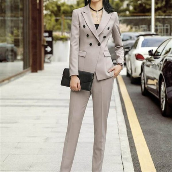 Customized new fashion women's double-breasted slim suit two-piece suit (jacket + pants) women's business formal wear