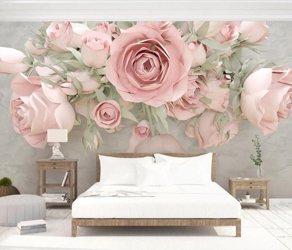 Embossed Floral Wall Mural Wall Paper 3d Flowers Canvas Print Paper Contact Photo Wallpaper Custom Papel De Parede