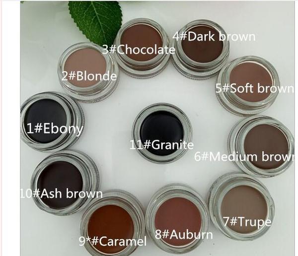 Le plus récent Sourcils Waterproof Pommade Sourcils exhausteurs maquillage 11 couleurs avec emballage de détail Soft Medium Ash Brown foncé chocolat CARAMEL