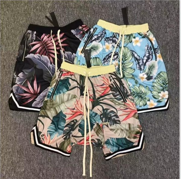 2019 Justin Bieber FOG Fear of God Collection 3D Plants Floral Shorts Running Breathable Short Stretch Sweat Jogger Shorts Beach Pants H12