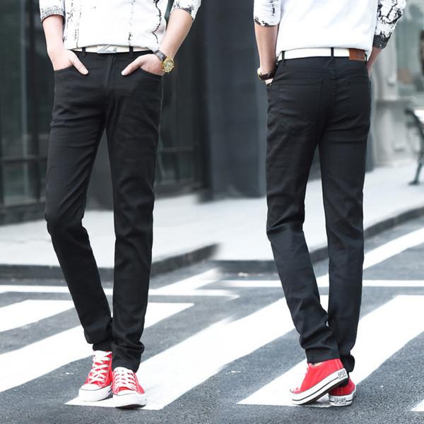2019 Top Fashion Mens Jeans Brand Robin 2018 for Men Solid color Full Length Mid Black Color Sale Pencil pants