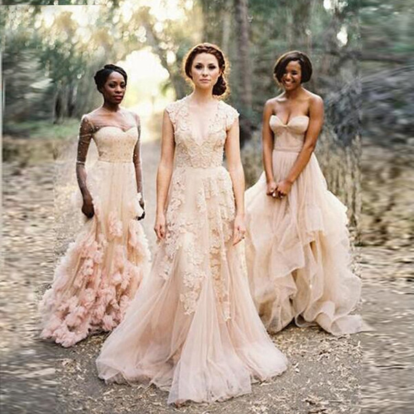 Vintage Blush Lace Beach Garden Wedding Dresses Sexy Deep V neck Cap Sleeve Layered Reem Acra Lace Long Bridal Gowns