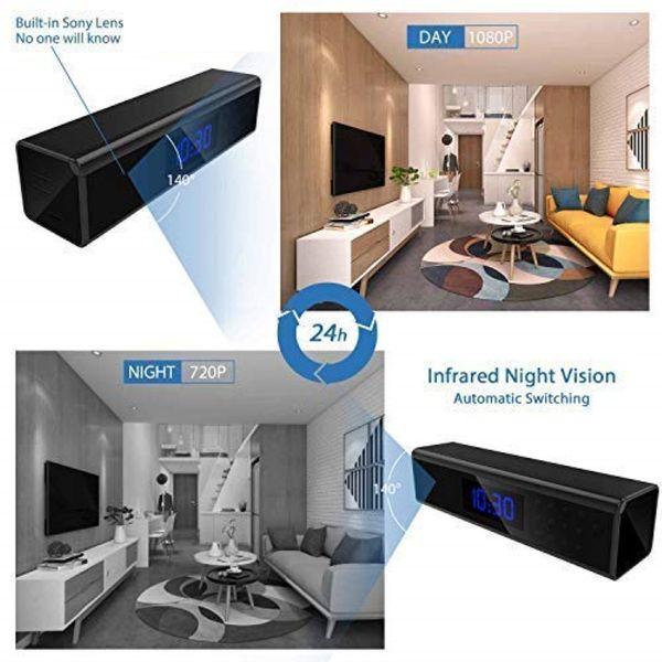 Mini Home Security Nanny Cam WiFi Alarm Clock Camera 1080P Wireless Video Recorder 140 Angle Camera Night Vision Camera Motion Activated DVR