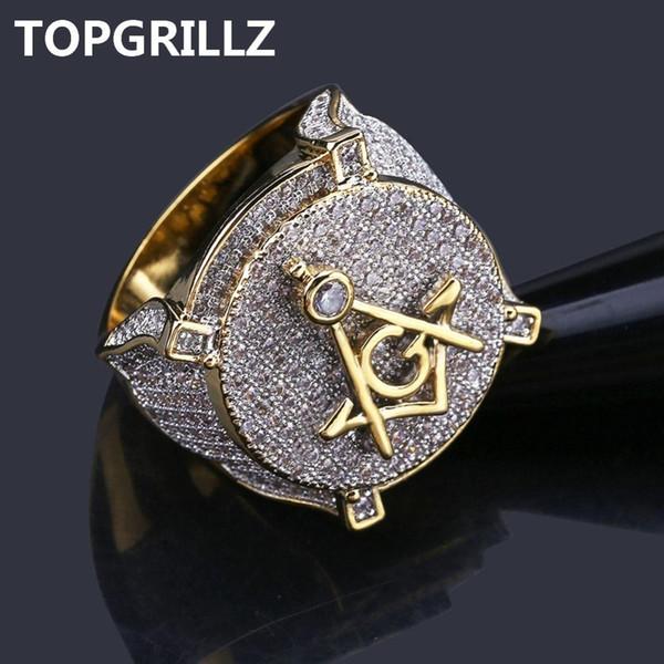 Topgrillz Hip Hop Banhado A Ouro de Bronze Iced Out Micro Pave Cubic Zircon Maçônica Anel Charme Para Os Homens Presentes Com 7 8 9 10 11 C190420