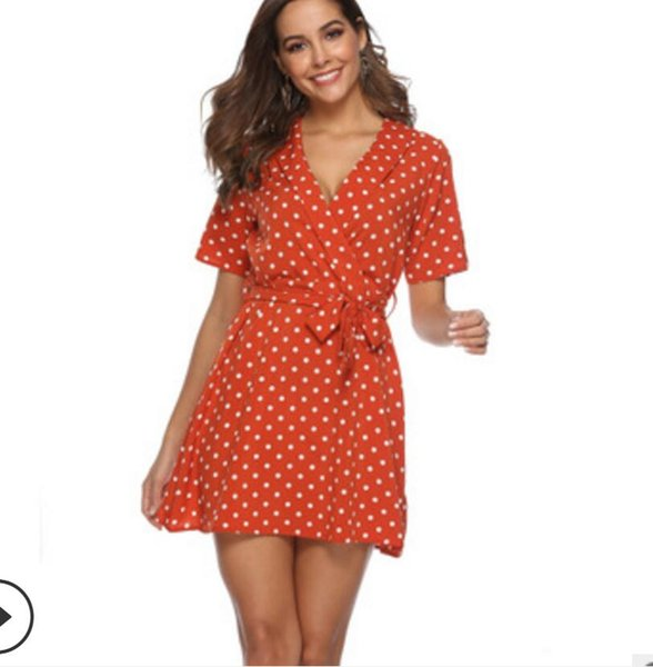 2019 Newest Women's Dresses short Skirts Holiday Beach nightclub dress S-XL sexy tie and wavy dress a suit collar V collar High waist