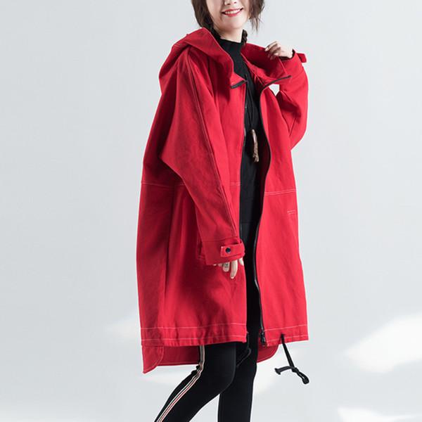 #3030 Windbreaker Girls Long Hooded Cardigan Red Trench Coat Streetwear Fashion Oversize Long Overcoat Women Tide Autumn Winter