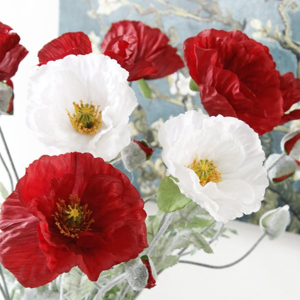 1pc Artificial Big Poppy Flower With Leaves Fleurs Artificielles For Autumn Fall Home Party Decoration Wreath Fake Silk Flowers