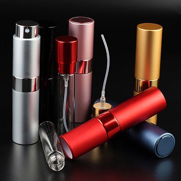 best selling 8ML Portable Telescopic Rotary Spray Bottle Alumina Perfume Empty Bottle Perfume Diffuser Makeup Atommizer Spray Bottling Tube BH2180 CY