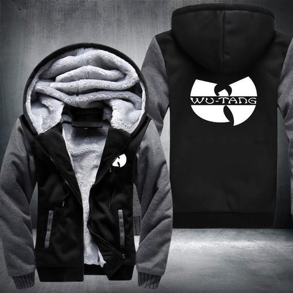 WU-TANG Print Unisex Winter Hoodie Zipper Thicken Coat Fleece Jacket Sweatshirt us size