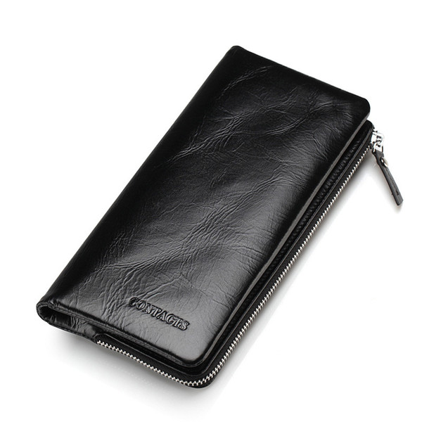 Hot Sale Real Genuine Leather Men Clutch Wallets Card Case Mens Card Holders Purse 2 Style Wallet With Coin Pocket Black Brown M1003