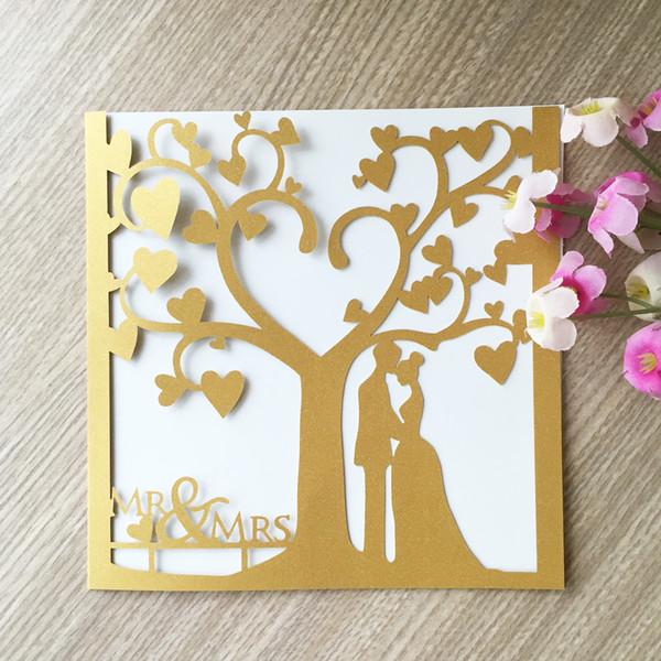Compre Elegantes Recién Casados Corazón De La Miel Con Láser Perla De Papel Castillo Invitación De La Boda Matrimonio Aniversario Cumpleaños Fiesta