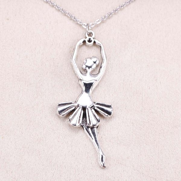 New Fashion Tibetan Silver Pendant ballet dancer ballerina 61*24mm Choker Charm Short Long DIY Necklace Factory Price Handmade Jewelry