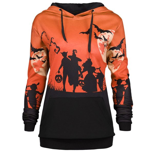Women sweatshirt Hooded Halloween Moon Bat Print autumn winter Drawstring Pocket Hooded Jumper pullovers Tops Casual moletom