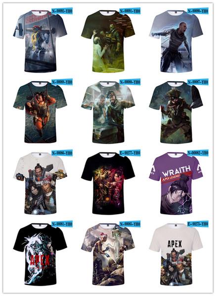 브랜드 디자인 T- 셔츠 남성 하라주쿠 에이펙스 레전드 레터 3D 프린팅 탑스 티즈 남성 여성용 청소년 티셔츠 캐주얼 의류 남성용