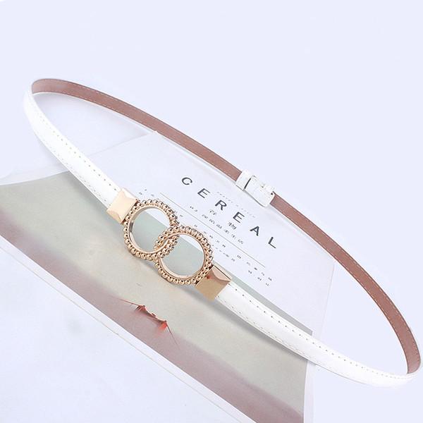 nuevo estilo fd0fa 6689a Compre Mujeres De La Moda Cinturón Fino Mujer Cinturón De Cintura Negra  Ajustable Para Vestido Falda Señoras Niñas Anillo Blanco Cinturones Jeans  533 ...